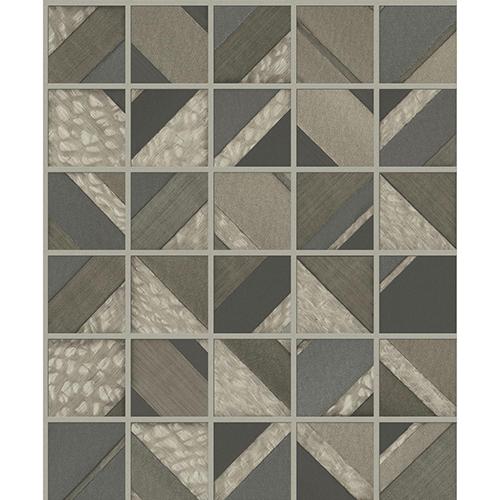 Mixed Materials Dark Brown Patchwork Tile Wallpaper