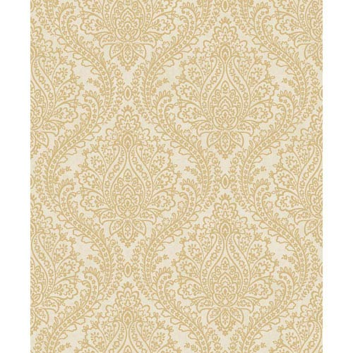 York Wallcoverings Mixed Metals Tattersall Damask Wallpaper- Sample Swatch Only