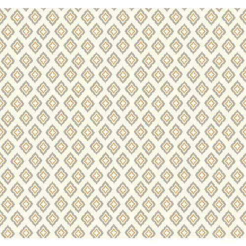 Carey Lind Modern Shapes Cream and Orange Keystone Wallpaper: Sample Swatch Only