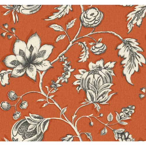 Carey Lind Modern Shapes Orange and Off-White Jardin Wallpaper