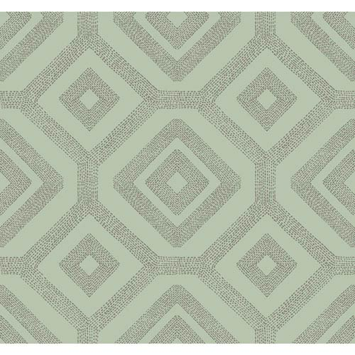 Carey Lind Modern Shapes Aqua and Taupe French Knot Wallpaper
