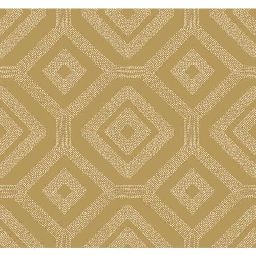 Carey Lind Modern Shapes Metallic Gold and White French Knot Wallpaper