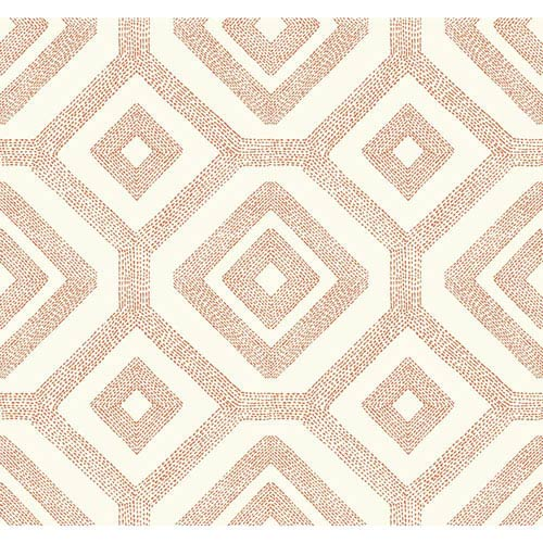 Carey Lind Modern Shapes Cream and Orange French Knot Wallpaper