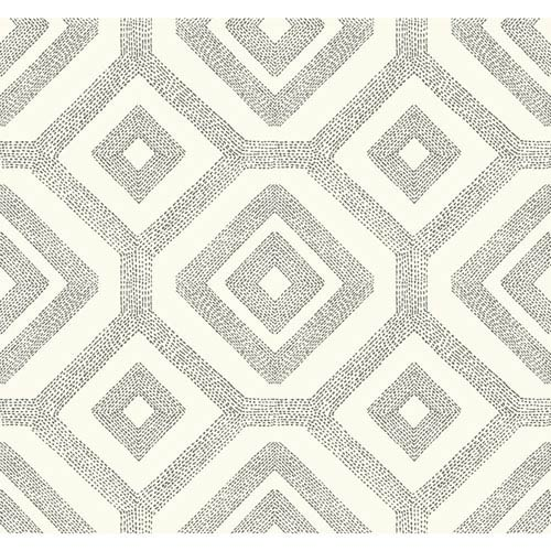 Carey Lind Modern Shapes Cream and Taupe French Knot Wallpaper