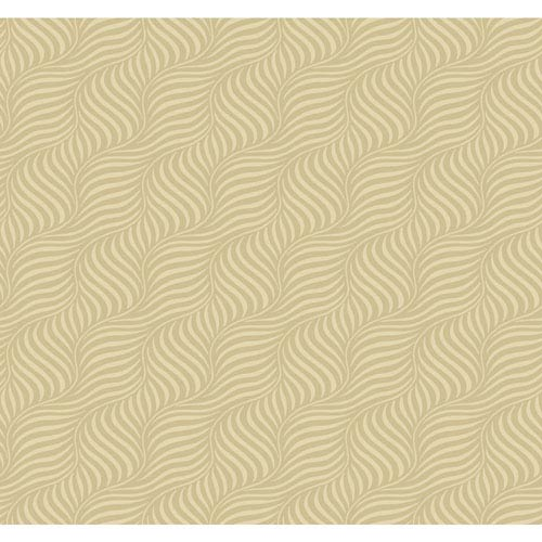Carey Lind Modern Shapes Gold Pearl and Beige Cross Current Wallpaper