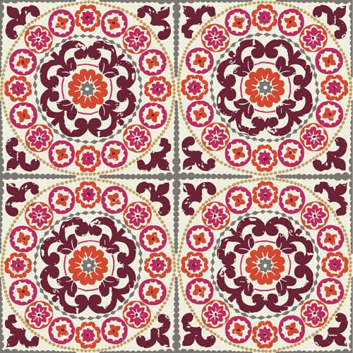 Carey Lind Modern Shapes Maroon and Pink Athens Wallpaper: Sample Swatch Only