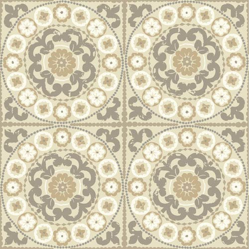 Carey Lind Modern Shapes White and Taupe Athens Wallpaper: Sample Swatch Only