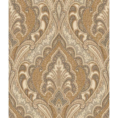 York Wallcoverings Menswear Hemmingway Brown and Metallic Removable Wallpaper