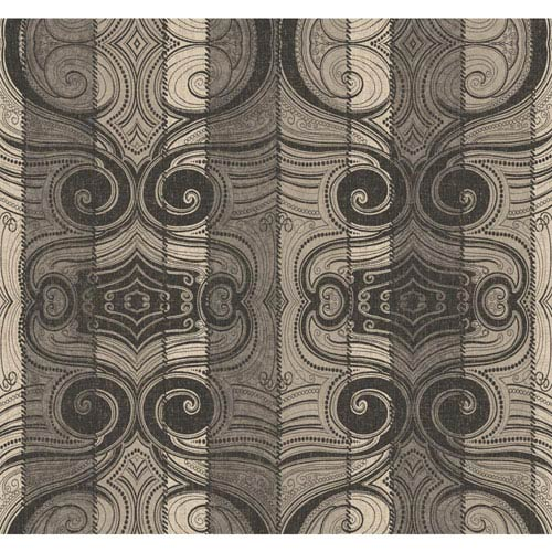 York Wallcoverings Menswear Wavelength Black and White Removable Wallpaper-SAMPLE SWATCH ONLY