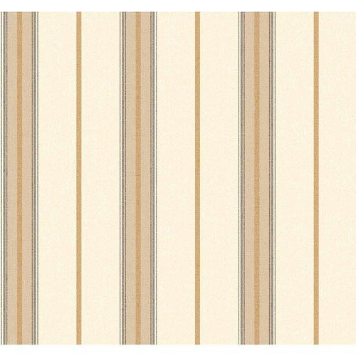 Menswear Ralph Stripe Brown and White Removable Wallpaper