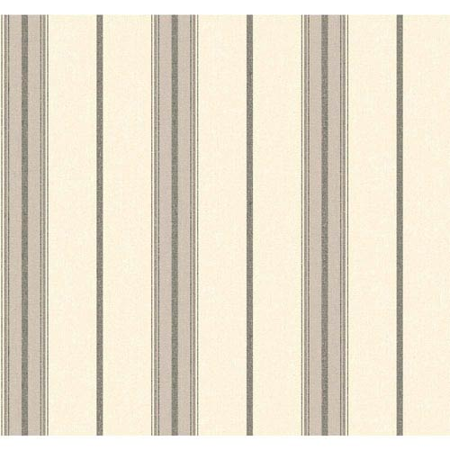 York Wallcoverings Menswear Ralph Stripe Black and White Removable Wallpaper