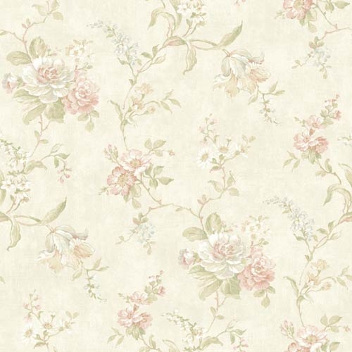 York Wallcoverings Nantucket Ecru, White, Pink, Baby Blue, Tan and Soft Green Floral Trail Wallpaper: Sample Swatch Only