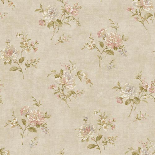 York Wallcoverings Nantucket Beige, Dusty Rose, Lavender, White, Tan and Olive Green Floral Bouquet Wallpaper: Sample Swatch