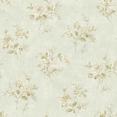 York Wallcoverings Nantucket Pale Water Blue, Off White, Ecru, Tan and Soft Green Floral Bouquet Wallpaper: Sample Swatch