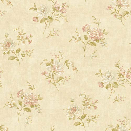 York Wallcoverings Nantucket Sand, Soft Coral, White, Aqua, Tan and Yellow Green Floral Bouquet Wallpaper: Sample Swatch Only