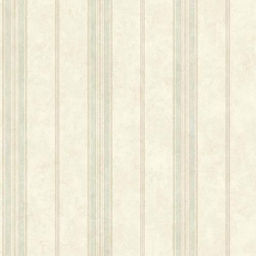 York Wallcoverings Nantucket Ecru, Tan, Baby Blue and Pink Nautical Stripe Wallpaper: Sample Swatch Only