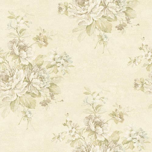 York Wallcoverings Nantucket Eggshell, White, Taupe, Muted Yellow, Sea Glass Blue and Soft Green Bouquet Wallpaper: Sample