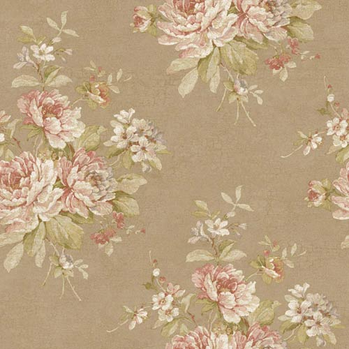 Nantucket Muted Bronze, Eggshell, Old Rose, Pink, Silvery Lilac, Dijon Amber and Soft Green Bouquet Wallpaper: Sample Swatch