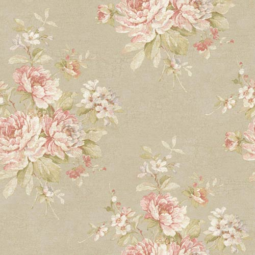 York Wallcoverings Nantucket Dove Grey, Dusty Rose, Pale Pink, White, Soft Greens and Silvery Blue Bouquet Wallpaper: Sample