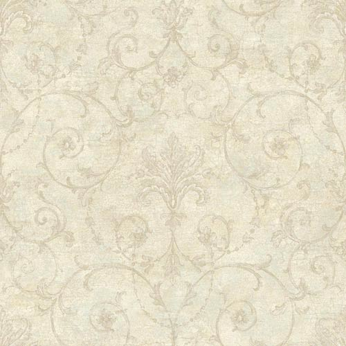 York Wallcoverings Nantucket Beige, Stone and Pewter Grey Baroque Allover Wallpaper: Sample Swatch Only