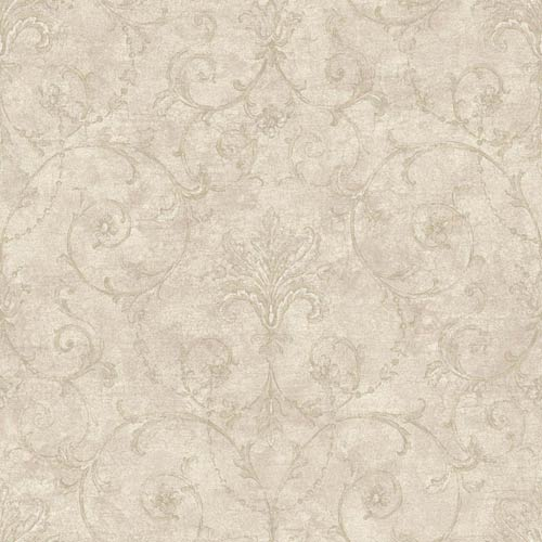 York Wallcoverings Nantucket Warm Eggshell, Concrete and Graphite Grey Baroque Allover Wallpaper: Sample Swatch Only