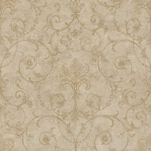York Wallcoverings Nantucket Coffee with Cream, Earth Brown and Muted Silver Baroque Allover Wallpaper: Sample Swatch Only