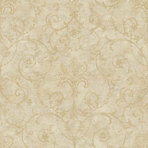 York Wallcoverings Nantucket Beige, Soft Taupe and Manila Tan Baroque Allover Wallpaper: Sample Swatch Only