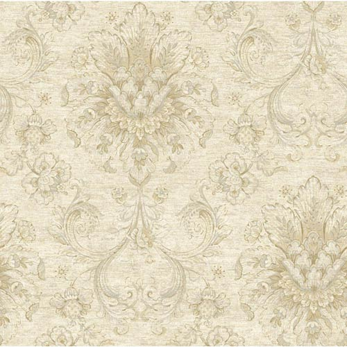 York Wallcoverings Nantucket White, Dove Grey, Taupe, Beige and Soft Silver Jacobean Damask Wallpaper: Sample Swatch Only