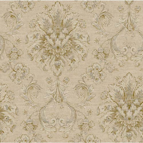 York Wallcoverings Nantucket Cream, Tan, Brown and Soft Silver Jacobean Damask Wallpaper: Sample Swatch Only