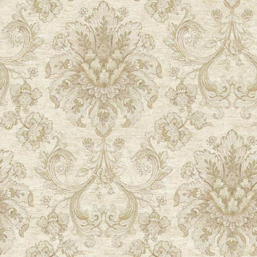 York Wallcoverings Nantucket Cream, Taupe, Pale Pink, Pale Sea Green and Soft Gold Jacobean Damask Wallpaper: Sample Swatch