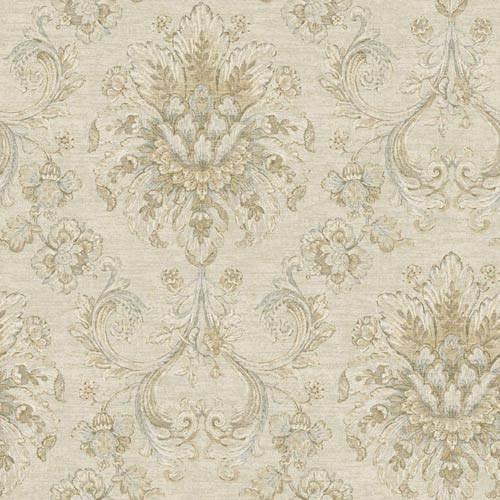 York Wallcoverings Nantucket Cream, Grey Blue, Cocoa Brown and Soft Silver Jacobean Damask Wallpaper: Sample Swatch Only