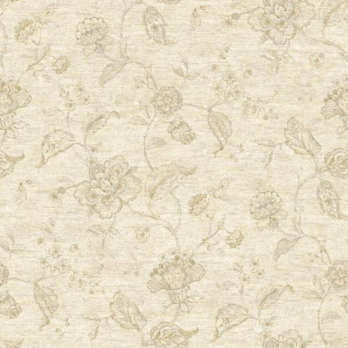 York Wallcoverings Nantucket White, Dove Grey, Taupe, Beige and Soft Silver Jacobean Trail Wallpaper: Sample Swatch Only