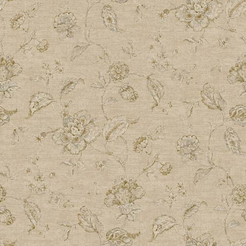 York Wallcoverings Nantucket Cream, Tan, Brown and Soft Silver Jacobean Trail Wallpaper: Sample Swatch Only