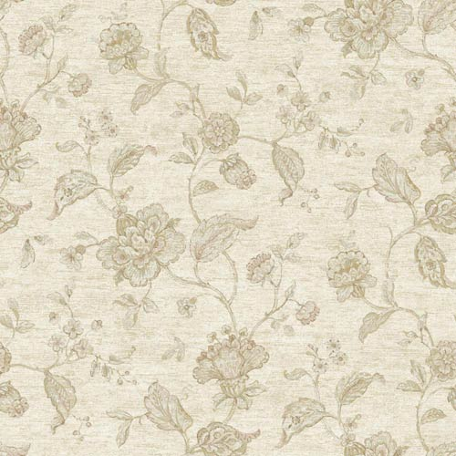 York Wallcoverings Nantucket Cream, Taupe, Pale Pink, Pale Sea Green and Soft Gold Jacobean Trail Wallpaper: Sample Swatch