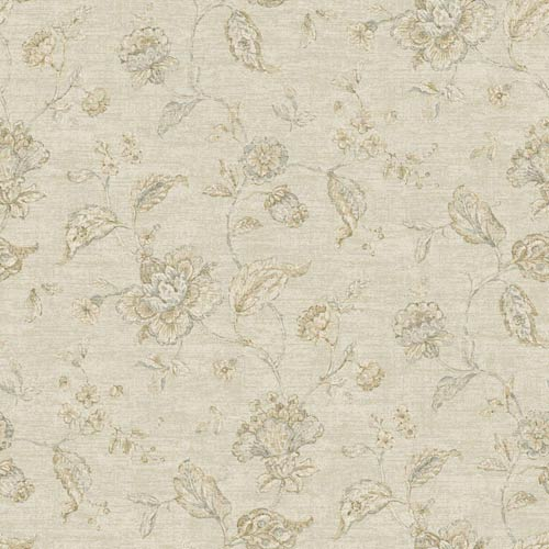 York Wallcoverings Nantucket Cream, Grey Blue, Cocoa Brown and Soft Silver Jacobean Trail Wallpaper: Sample Swatch Only
