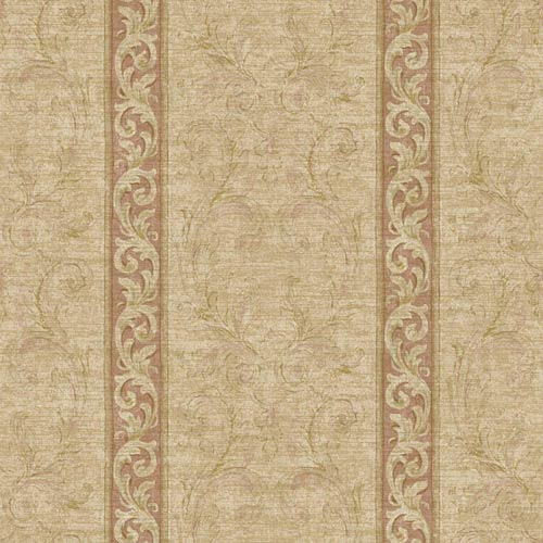 York Wallcoverings Nantucket Buff Tan, Amber, Dusty Rose, Soft Olive Green, Maroon and Soft Gold Jacobean Stripe Wallpaper: