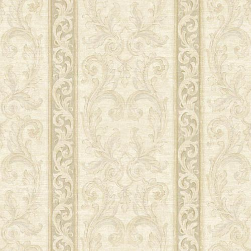 York Wallcoverings Nantucket White, Dove Grey, Taupe, Beige and Soft Silver Jacobean Stripe Wallpaper: Sample Swatch Only