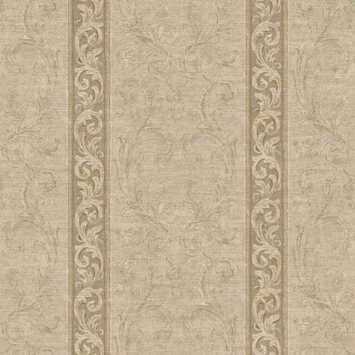 York Wallcoverings Nantucket Cream, Tan, Brown and Soft Silver Jacobean Stripe Wallpaper: Sample Swatch Only