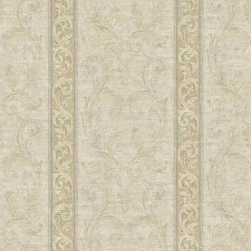 York Wallcoverings Nantucket Cream, Grey Blue, Cocoa Brown and Soft Silver Jacobean Stripe Wallpaper: Sample Swatch Only
