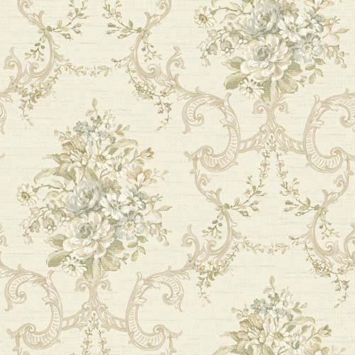 Nantucket Cream, Grey Blue and Cocoa Brown Floral, Ornamental Wallpaper: Sample Swatch Only