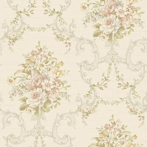 York Wallcoverings Nantucket Cream, Peach, White, Pale Blue, Muted Yellow, Grey, Greens and Gold Floral, Ornamental