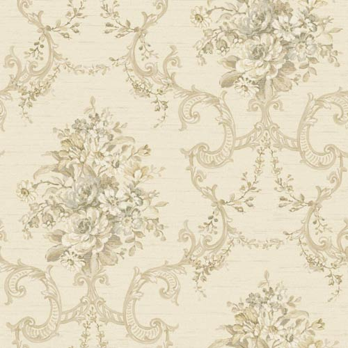 York Wallcoverings Nantucket Ecru, Pale Taupe, Medium Taupe, White, Tan, Grey Blue and Silver Floral, Ornamental Wallpaper: