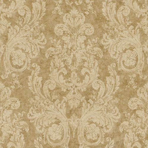 York Wallcoverings Nantucket Parchment Tan and Mottled Gold Ornamental Toile Wallpaper: Sample Swatch Only
