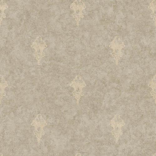 York Wallcoverings Nantucket Spot Mottled Taupe and Soft Gold Ornamental Toile Wallpaper: Sample Swatch Only
