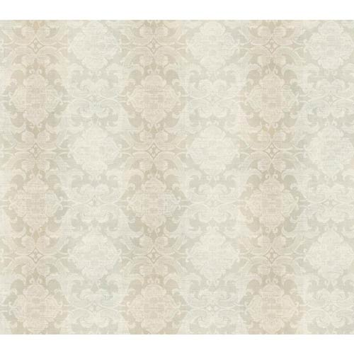 York Wallcoverings Nantucket Palest Aqua, Putty Tan and Off White Woven Damask with Stripe Wallpaper: Sample Swatch Only