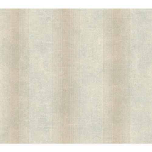 York Wallcoverings Nantucket Palest Aqua, Putty Tan and Off White Woven Stripe Wallpaper: Sample Swatch Only