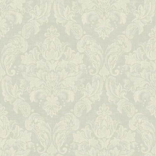 York Wallcoverings Nantucket Palest Blue and White Damask Wallpaper: Sample Swatch Only