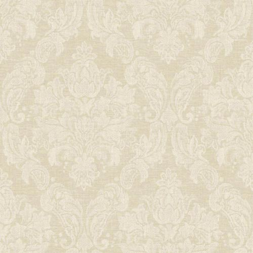 York Wallcoverings Nantucket Beige and Taupe Damask Wallpaper: Sample Swatch Only