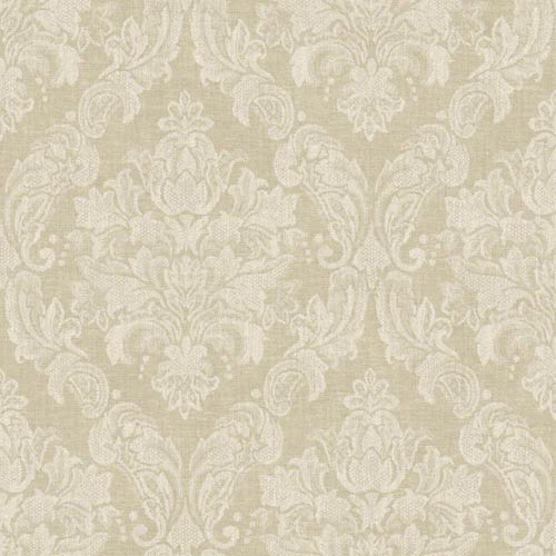 Nantucket Old Rose and Warm Cream Damask Wallpaper: Sample Swatch Only
