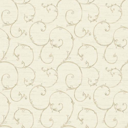 York Wallcoverings Nantucket Cream, Pale Grey, Light Taupe, Silver and Dark Green Small Decorative Scroll Wallpaper: Sample